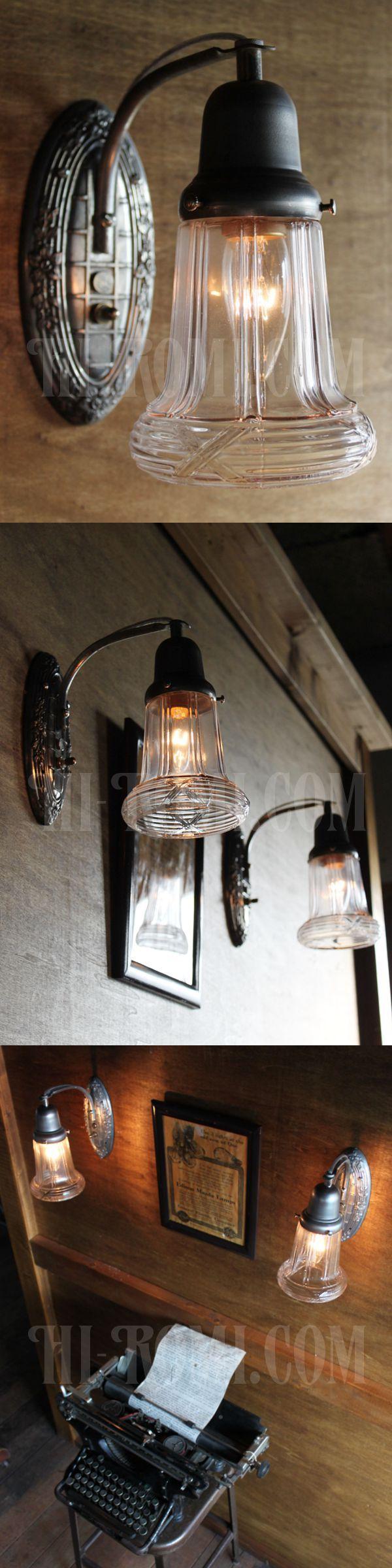 ヴィンテージガラスシェード付ピューター製花柄ベースのブラケットランプ/アンティークヴィクトリアンレトロ照明壁掛けウォールライト