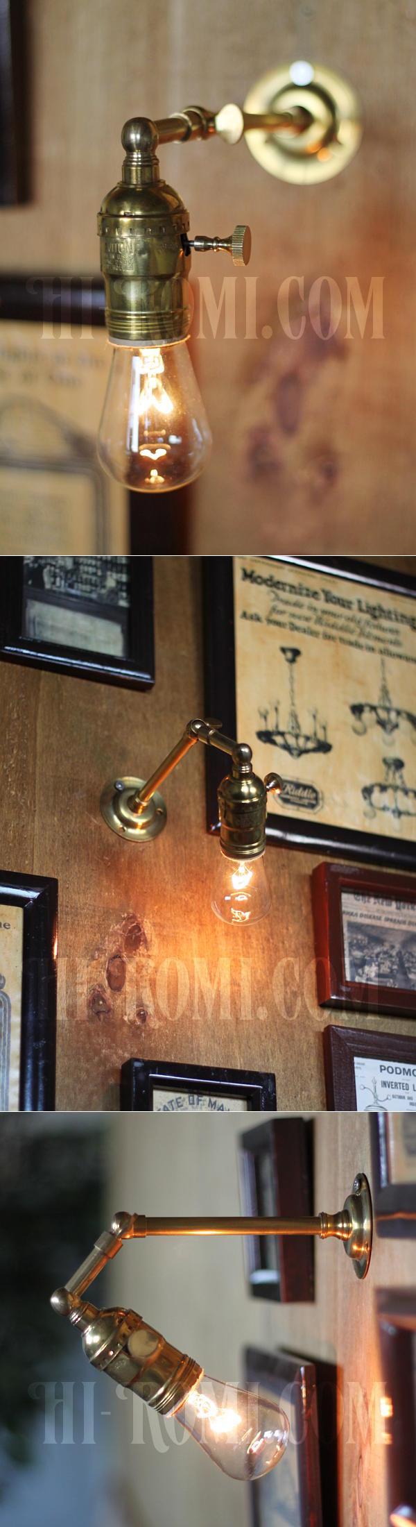 工業系ミニ角度調整付き真鍮ブラケット/インダストリアルウォールランプ/壁掛け照明