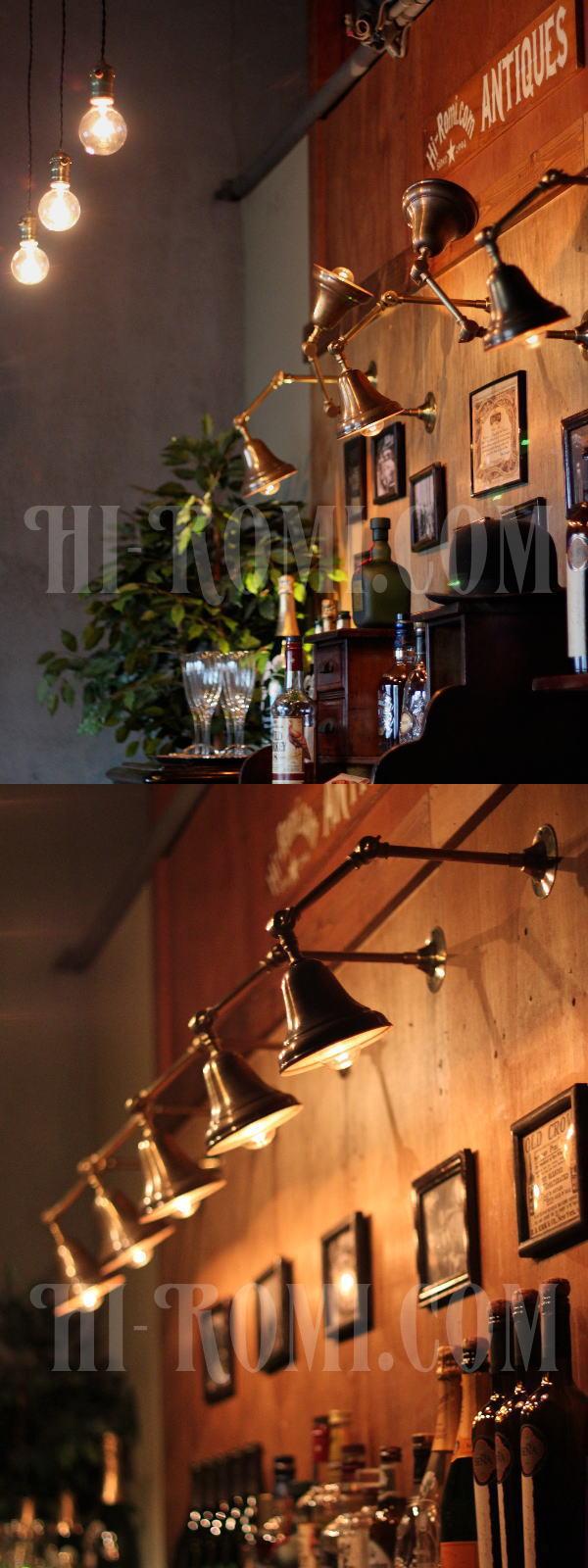 工業系真鍮製2点角度調整&深型シェード付き真鍮ブラケット/インダストリアルウォールランプ/壁掛け照明