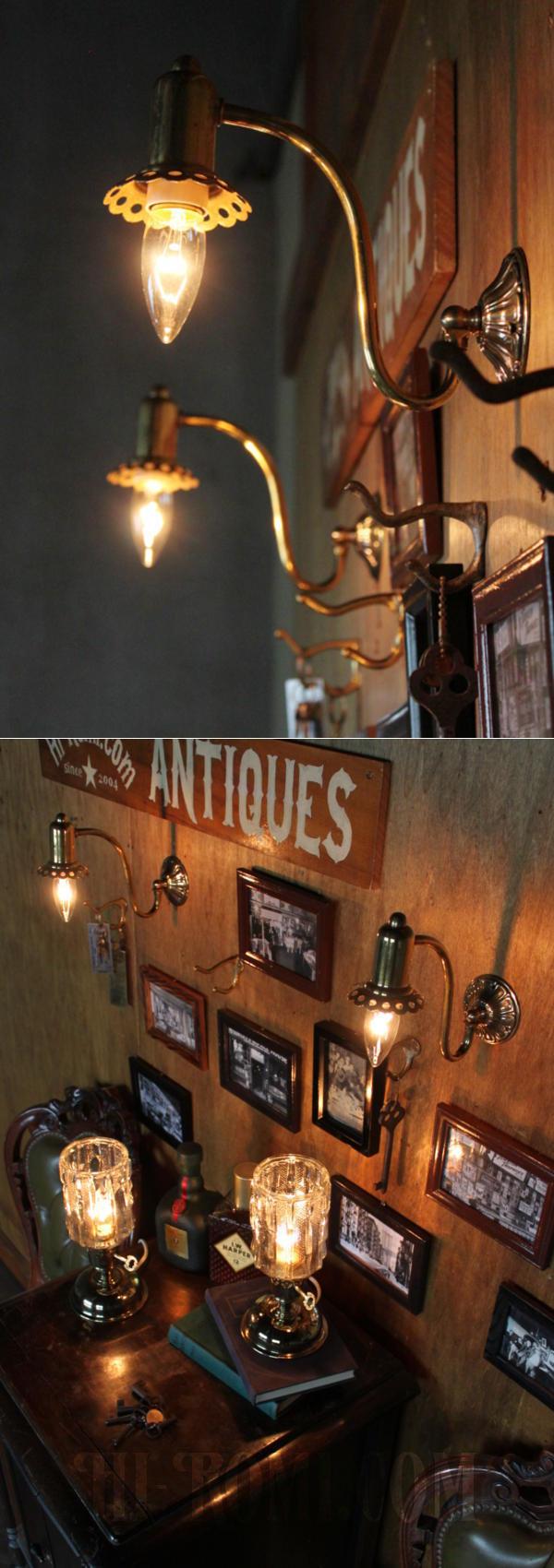 USAヴィンテージ真鍮製花形カップ付きコロニアルブラケット/アンティークヴィクトリアン照明壁掛ランプ