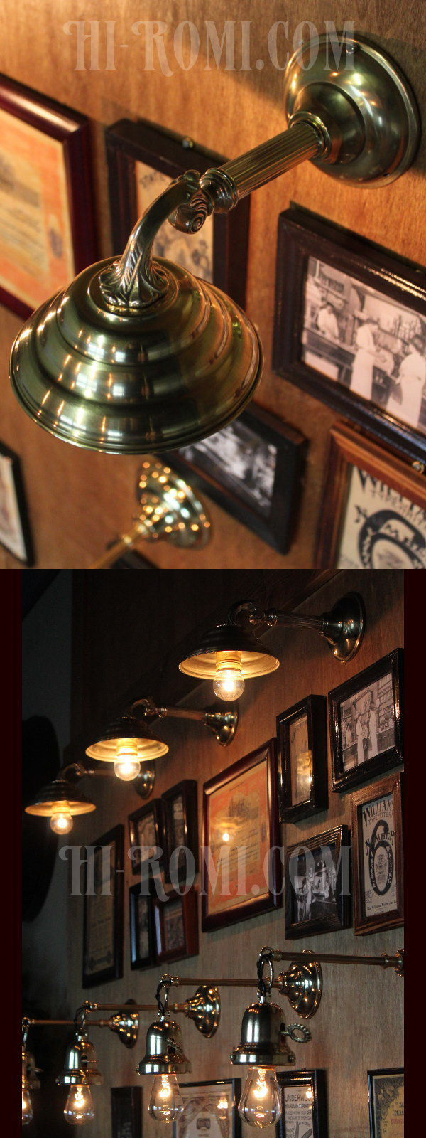 ヴィンテージビーハイブシェード真鍮製コロニアルブラケットA/ヴィクトリアンウォールランプ/壁掛け照明