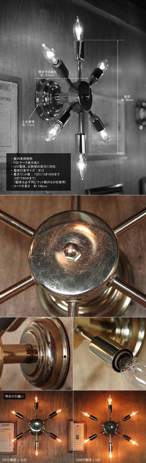 USAヴィンテージスプートニク6灯ブラケット/ミッドセンチュリー50'60'sインダストリアル工業系ウォールランプ照明ライト