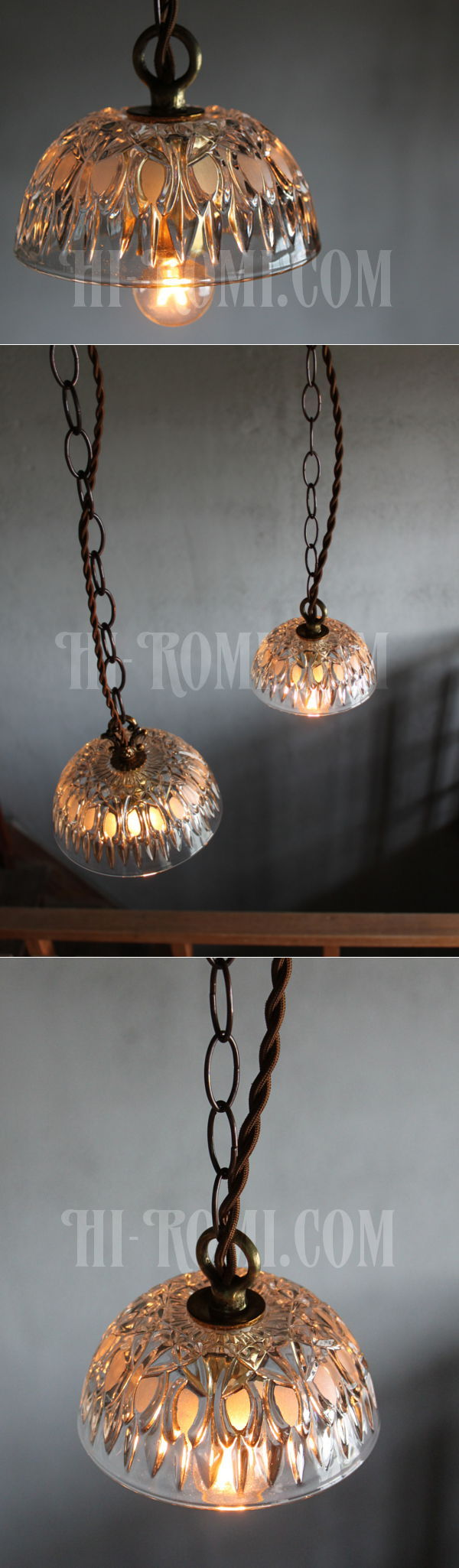 FRANCE製プレスガラスシェード1灯ミニペンダントランプ小/アンティーク吊下照明