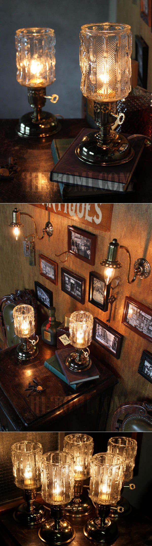USAヴィンテージアイスグラスシェード&鍵スイッチ付きテーブルランプ/アンティークミッドセンチュリー照明卓上ランプ