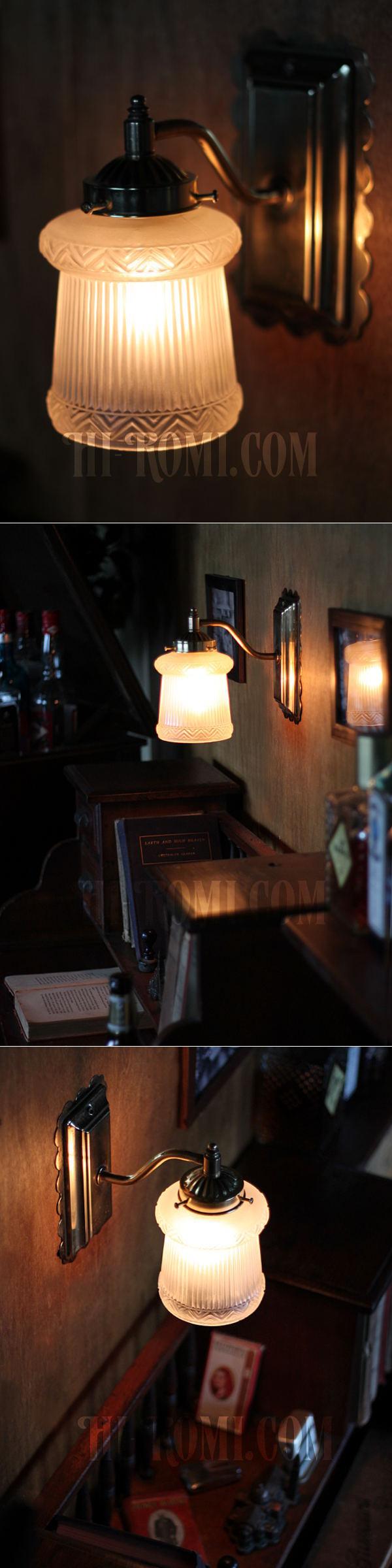 ヴィンテージコロニアルくもりガラスシェードのブラケットA/ヴィクトリアン壁照明