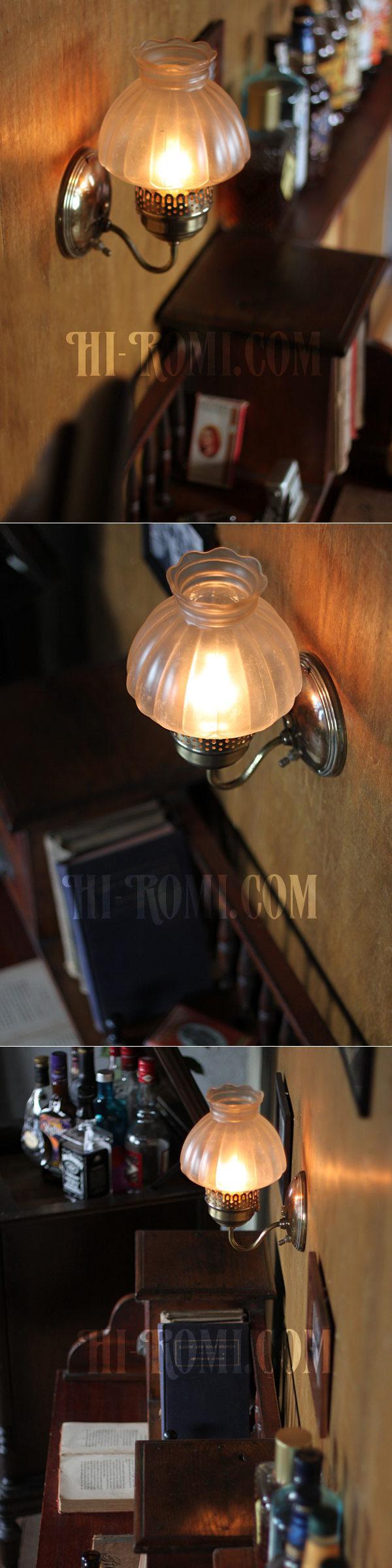 ヴィンテージコロニアルくもりガラスチムニーシェードのブラケットランプ/火屋ハリケーンヴィクトリアン壁照明