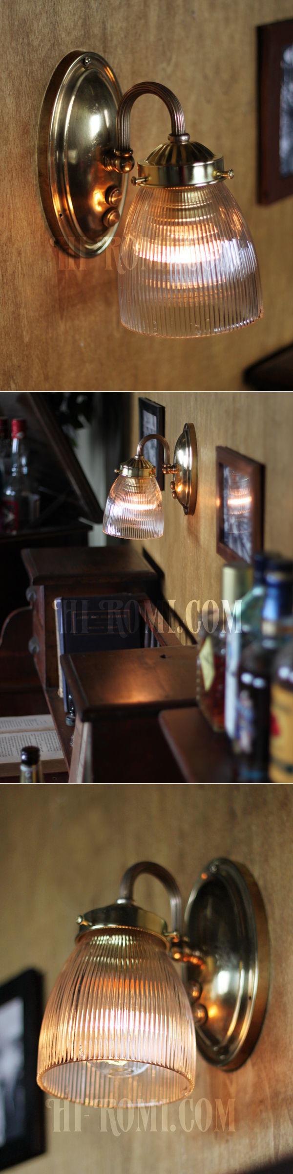 ヴィンテージコロニアルホルフェン調ガラスシェードミニブラケットランプ/ヴィクトリアン工業系壁照明