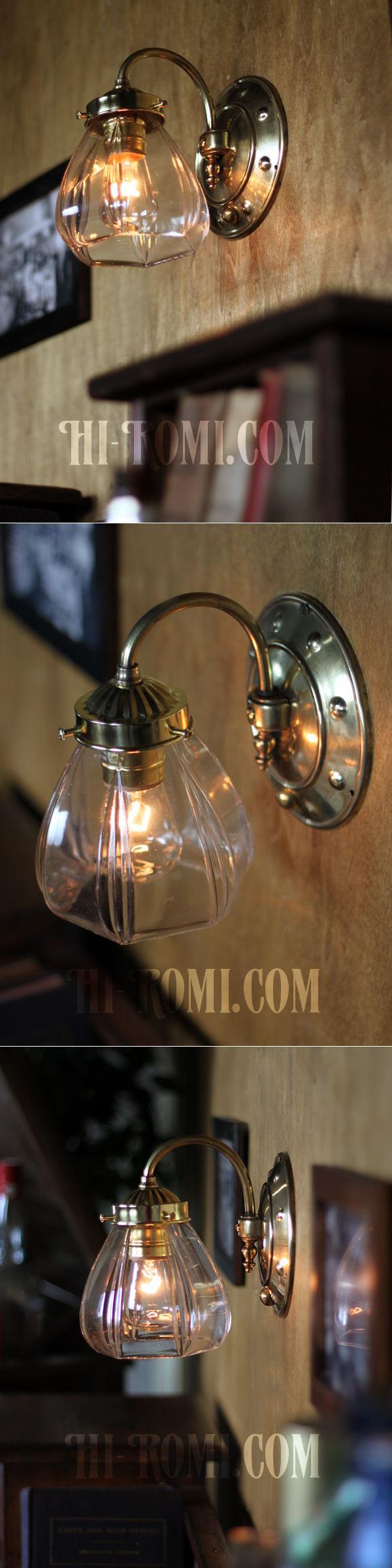 ヴィンテージコロニアルクリアガラスシェード&ホブネイルベースのブラケットランプ/ヴィクトリアン壁照明