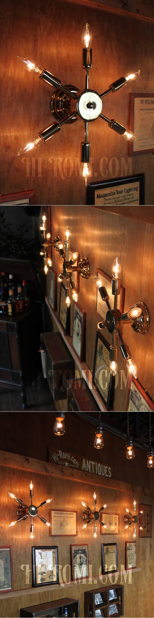 USAヴィンテージスプートニク6灯ブラケットA/ミッドセンチュリー50's60'sインダストリアル工業系ウォールランプ照明ライト