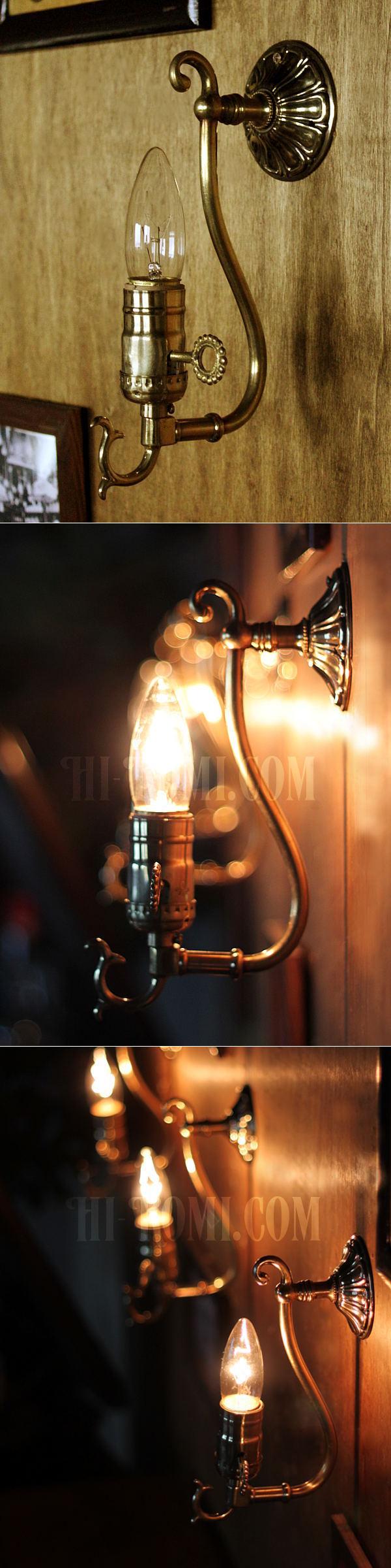 LEVITON社製真鍮ソケット付きコロニアルフォーリッジスクロールミニブラケットランプA/アメリカンヴィクトリアン壁掛照明ウォールランプ