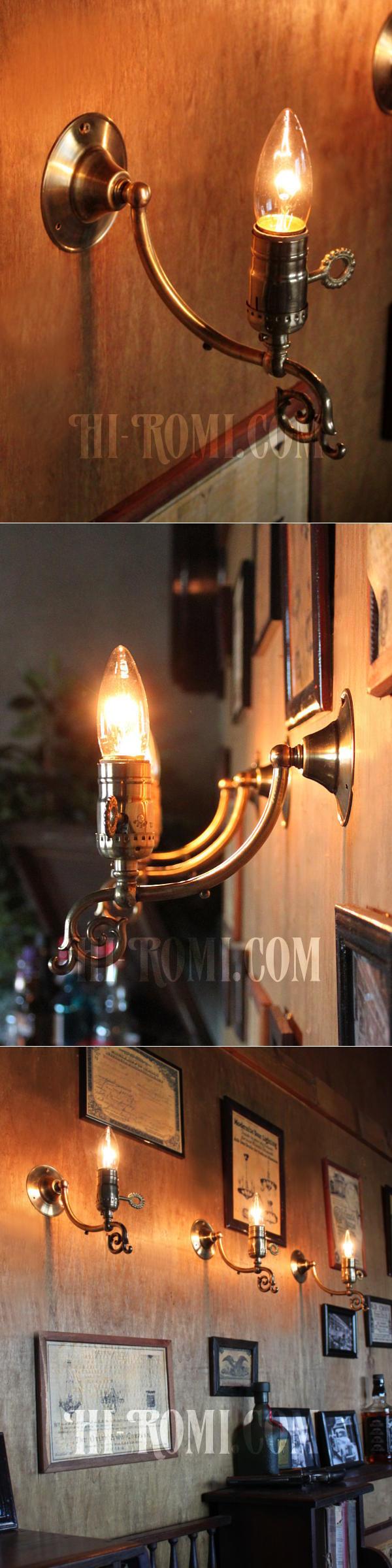 LEVITON社製真鍮ソケット付フォーリッジスクロールA/アメリカンコロニアルヴィクトリアンランプ壁掛照明ウォールライト
