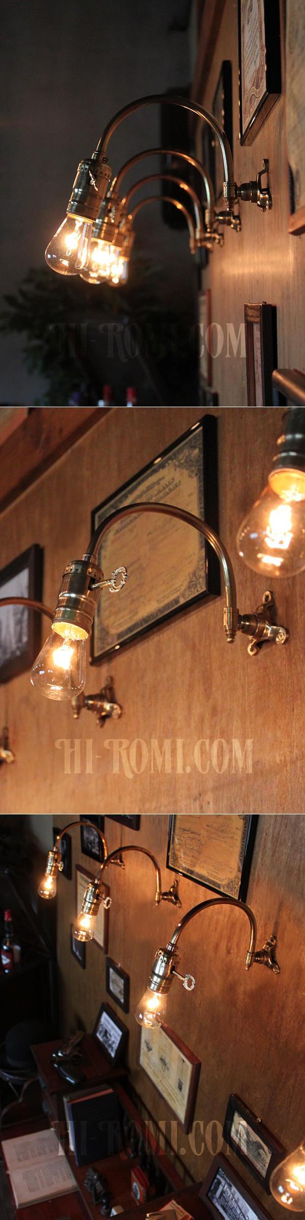 USAヴィンテージ工業系湾曲アーム真鍮ブラケットA/インダストリアル照明壁掛けランプ