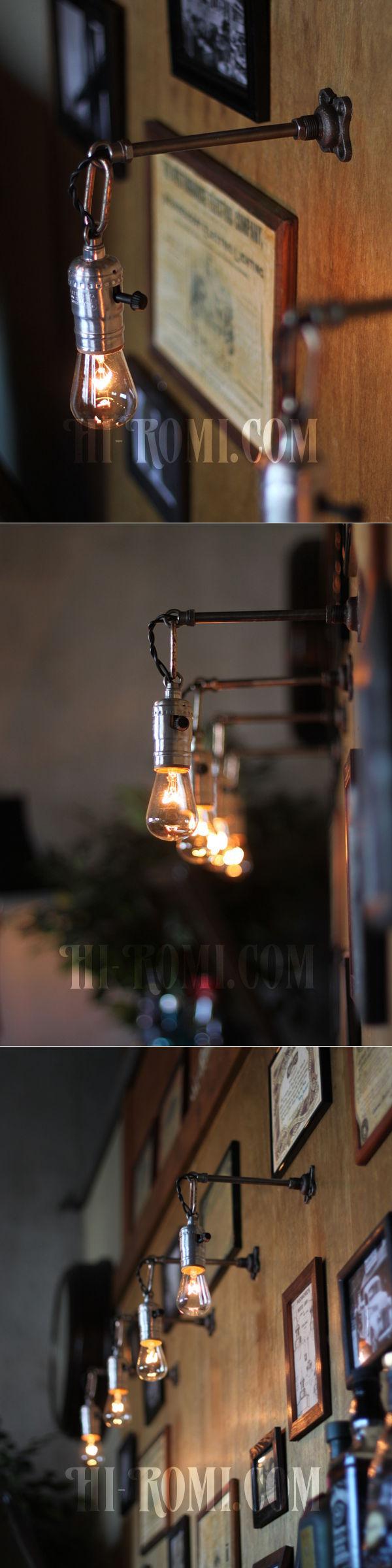 チェーンリング付LEVITON社製ターン式ソケット工業系ウォールランプ兼用ペンダントライト/アンティーク照明ブラケット