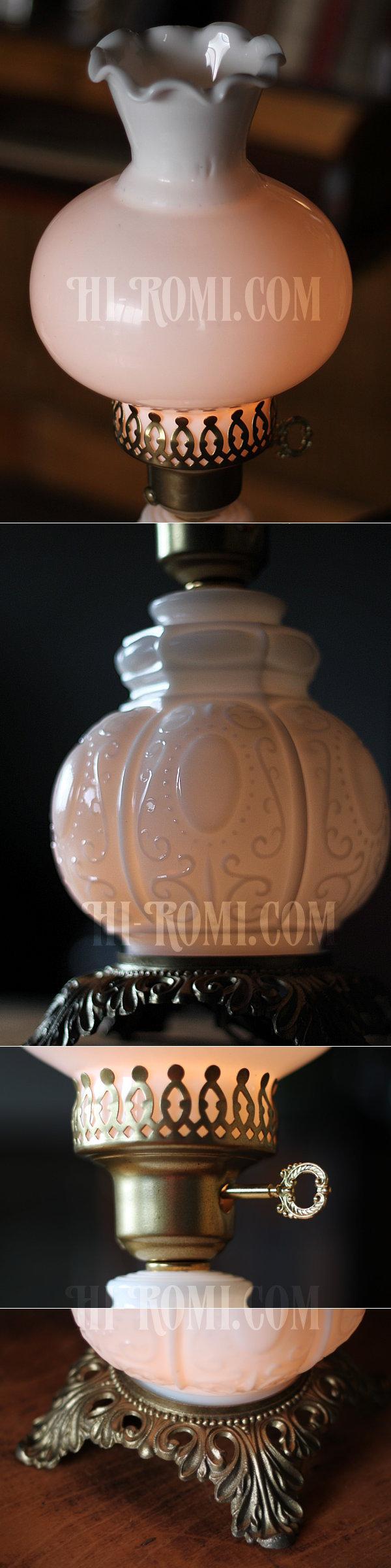 USAヴィンテージコロニアルミルクガラス3Wayテーブルランプ/アンティークヴィクトリアン卓上照明