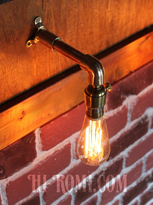 HALEBRO社ターン式真鍮ソケット&角度調整付き工業系ミニブラケットA/インダストリアルアンティークヴィンテージ壁面照明