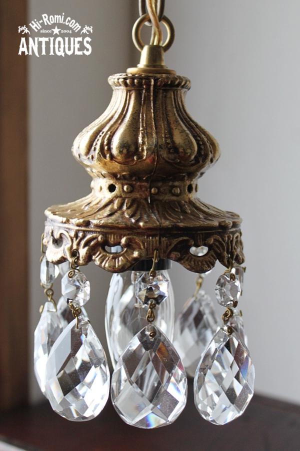 USAヴィンテージガラス製ダブルカットプリズムミニシャンデリア/アンティークランプ