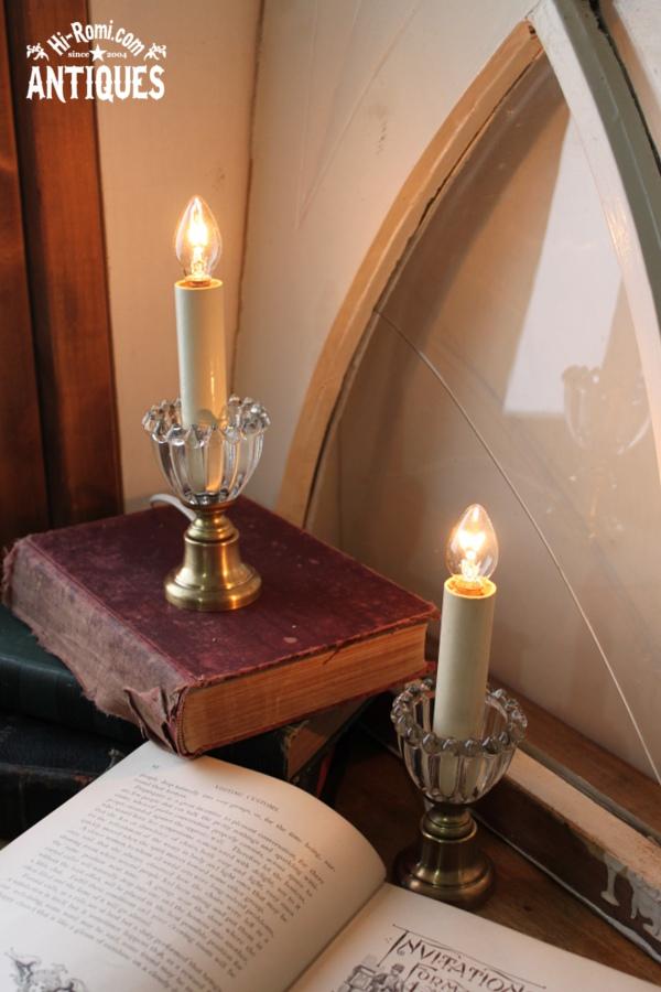 USAヴィンテージクリアガラスホブネイルキャンドルミニテーブルランプB/アンティークランプ